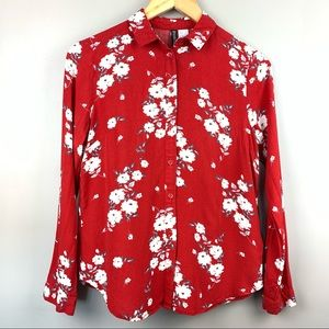 Divided | Red Button Up Blouse White Floral Sz 0